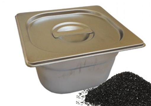 Steel box and ground carbon for firing metal clay
